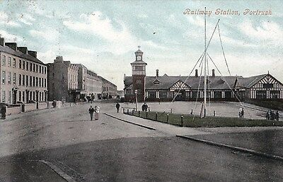 c northern ireland postcard ulster irish antrim portrush railway station