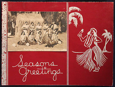 Original WWII Era Christmas Card w/Photo Royal Hawaiian Hula Troupe