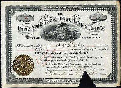 Lititz Springs National Bank Of Lititz, Pa., 1910              Stock Certificate