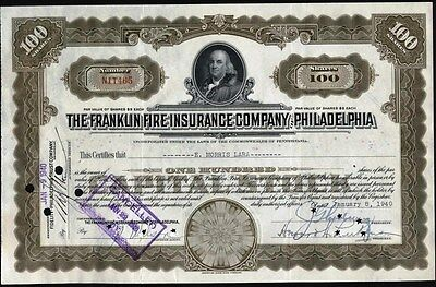 Franklin Fire Insurance Company Of Philadelphia, 1940          Stock Certificate