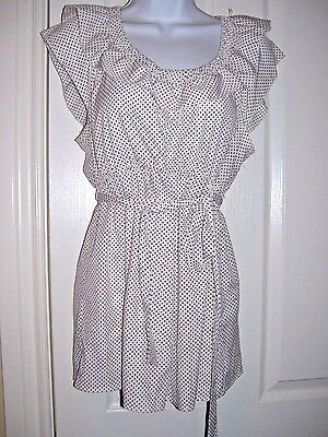 Motherhood Maternity White w/ Black Polka Dots Ruffled Blouse Sz Large
