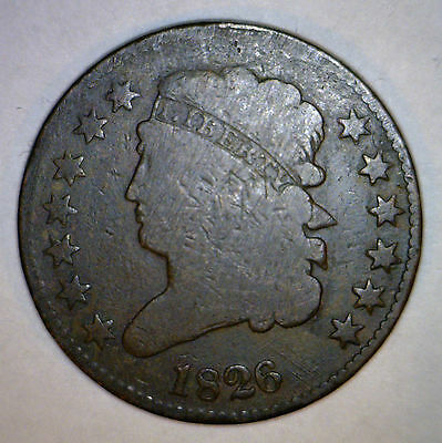 1826 HALF CENT VG + US Copper Coin 1/2 Penny ORIGINAL #1 MAKE AN OFFER
