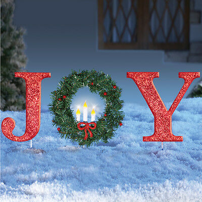"""Lighted Christmas """"JOY"""" with Wreath Outdoor Yard Stake Decoration"""