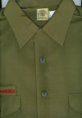 MINT Old Official Boy Scout Poly-Wool Shirt - SIZE Med (15-15 1/2)