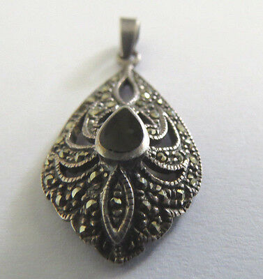 Stunning Vintage Sterling Silver Marcasite Pendant With Tear Drop Onyx Centre