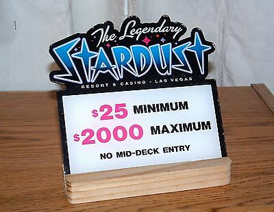 Stardust Casino Table Stakes Sign Black Jack 25.00 to 2000.00 with stand
