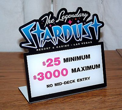 Stardust Casino Table Stakes Sign Black Jack 25.00 to 3000.00