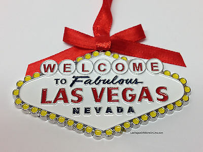 Welcome To Las Vegas Sign Christmas Tree Holiday Hanging Ornament Metal