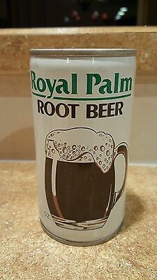 1970's crimped steel Royal Palm Root Beer pop soda can top opened