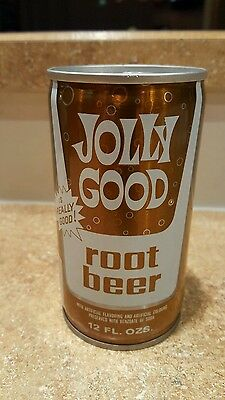 1970's crimped steel Jolly Good Root Beer pop soda can top opened