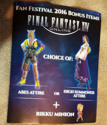 Final Fantasy XIV Fan Festival Fanfest Rikku Minion Code Exclusive Outfit