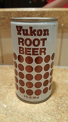 1970's crimped steel Yukon Root Beer pop soda can top opened