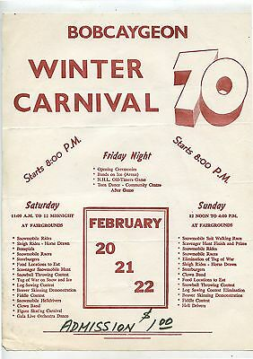 """Old 1970 Bobcaygeon Winter Carnival Flyer Ontario 8X10"""""""