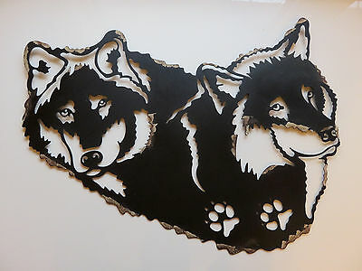 "15X20"" Wolf Metal Wall Decor  Country Cottage Cabin Decor Wall Art Wolves Animal"