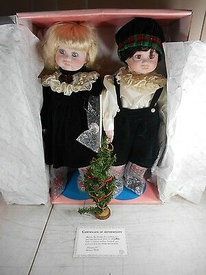 Vtg porcelain Twin Brother & Sister Christmas Dolls by  Marian Yu Design Co. MYD