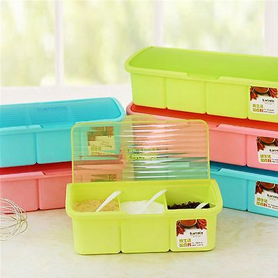 Seasoning Box Spice Jars with a Spoon Split  Box Cans of 3 cells/4 cells 3colors