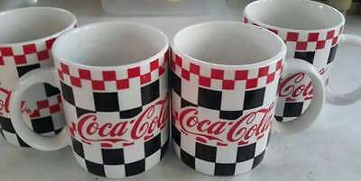 """Lot Of 4 Coca-Cola Checkerboard 4"""" Handled Mugs Gibson 1996"""