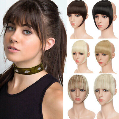 7inches Neat Bangs Clip on Front Fringe Clip in Hair Extensions Real Natural HX6