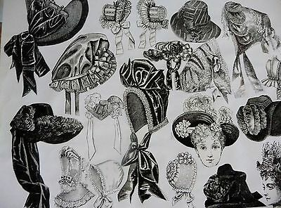 Collection Of 22 Antique Doll Hat Patterns Plus More!