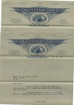 2 Old 1926 His Masters Voice Ltd Halifax Branch NS Letterheads