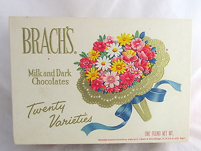 Vintage Advertising Brach's Chocolates One Pound Floral Bouquet Candy Box