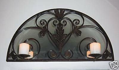 Wrought Iron Antique Style Above Door Transom Mirror Candle Sconce