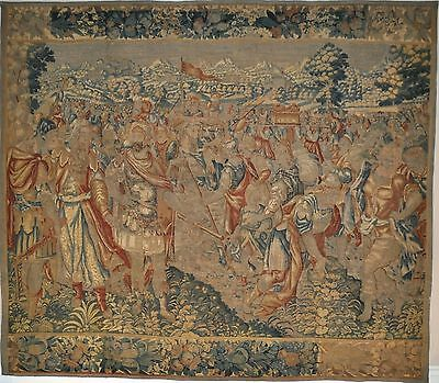 11' X 12'genuine 17Th Century Antique Flemish Hand Woven Tapestry Chalemagne