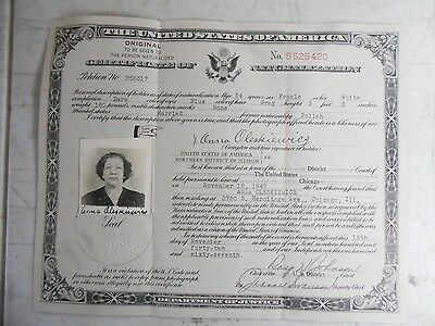 Vintage 1942 United States Certificate of Naturalization with ID Photo Illinois