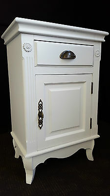 2 x FRENCH PROVINCIAL COUNTRY BEDSIDE TABLE DRAWER CUPBOARD CHIC - 3485