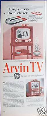 1951 Arvin Television table model & console Ad