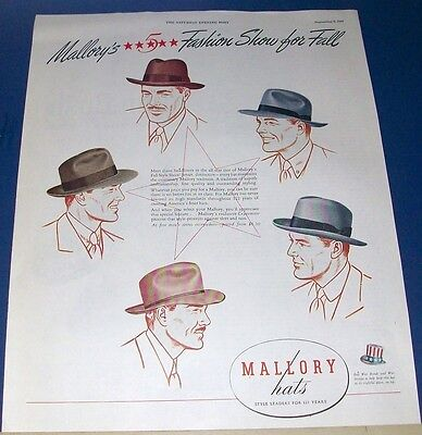 1945 Mallory Hats Ad~Fall Fashion Show~5 styles