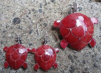925 Sterling Silver Balinese Red Sea Shell Turtle jewelery in Set