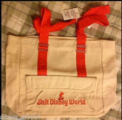 Walt Disney World Theme Park Resort Canvas Tote Bag Purse Wdw New Beige