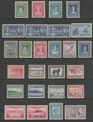 NEWFOUNDLAND #245-270 MH - singles and sets 1938-1947