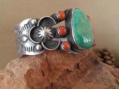 Crescent Valley Mine TURQUOISE, CORAL & Sterling NAVAJO AUTHENTIC CUFF BRACELET