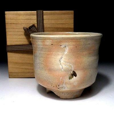 YH5: Vintage Japanese Tea Bowl, Kyo Ware with wooden box, Bird, Egret