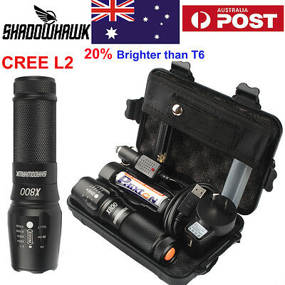 20000lm Police Tactical Flashlight XML XM-L L2 LED Zoom Military Torch+Battery