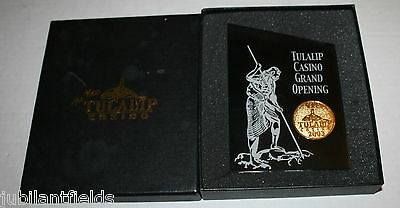 Tulalip Casino Grand Opening 2003 Acrylic Paperweight with Coin inside