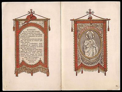 BANNERS OF THE SACRED HEART Old LARGE HOLY CARD BOOKLET