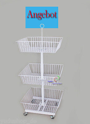 3ER Mesh Basket Special Offers Display Stand incl. 4 Casters
