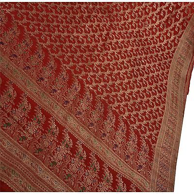 Sanskriti Vintage Sari Woven Satin Silk Fabric Saree Indian Brocade Work