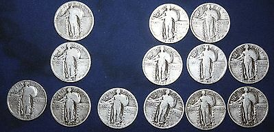 Starter Set Standing Liberty Quarters 1925-1930. 13 Different. All Full Dates.