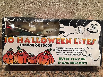 New Vintage Set Of Ten Halloween Blinking White Ghost Blow Mold Novelty Lights