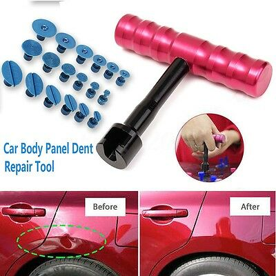 Car Body Puller Lifter Paintless Dent PDR Repair Removal Tool 18 Glue Tabs T Bar
