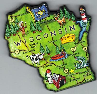 Wisconsin   Wi Artwood State Map Magnet Madison  Green Bay  Oshkosh  Eau Claire