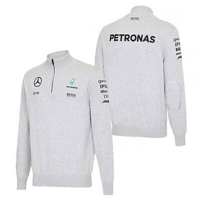 Mercedes Amg Petronas Mens 3/4 Zip Knitted Jumper Grey 2016 F1 Size Small Only