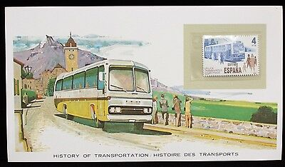 1981 Spain Bus Transportation Stamp Cover History of Transportation MNH w Card