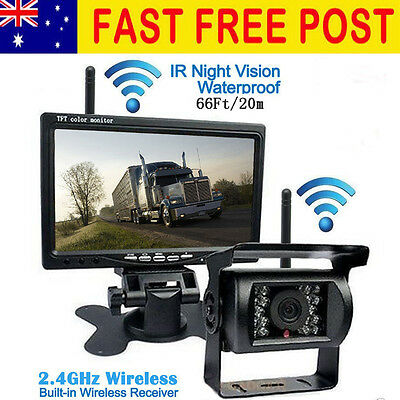 "Wireless 7"" Car Monitor + Truck/Bus 18 IR Night Vision Reverse Backup Camera"