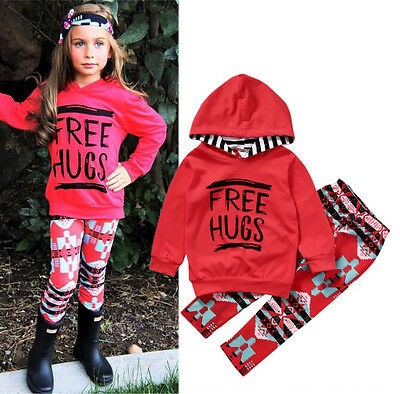 2PCS Toddler Kids Girls Tops Hoodie Pants Legging Outfits Set Clothes US Stock