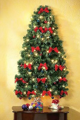 4 Ft. Lighted Red Bow Traditional Christmas Space Saving Wall Tree